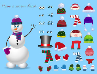 Christmas and new year set for creating snowman. Eyes, emotions, hats, scarves, mittens. Cute winter clothes for snowman. Vector illustration, template