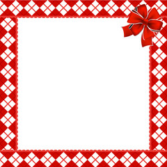Cute Christmas or new year frame with red and white diamond pattern decorated with red ribbon in the corner. Vector illustration, border, template with copy space for design.