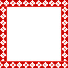 Cute Christmas or new year frame with red and white diamond pattern. Vector illustration, border, template with copy space for design.