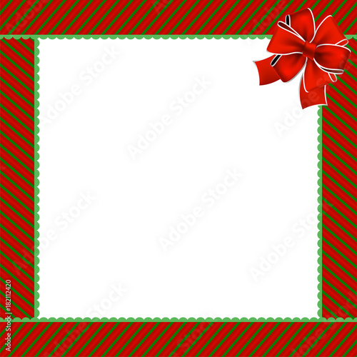 cute christmas or new year frame with green and red diagonal stripes and red festive ribbon