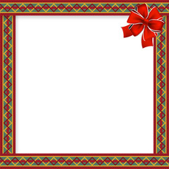 Cute christmas or new year frame with red, green, yellow zig zag pattern, red festive bow in the corner and space for text. Vector illustration, template, border for design.