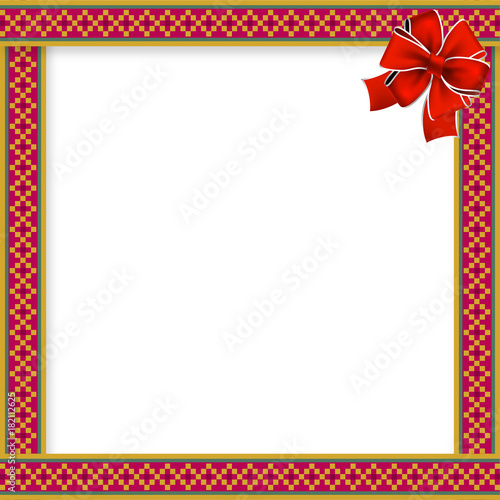 cute christmas or new year frame with rhombus pattern red bow in the corner and