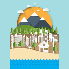 Nature landscape paper cut design.Eco and cityscape concept of environment conservation.Vector illustration.