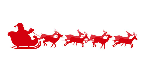 Vector illustration of Santa flying in a sleigh with reindeer. Red silhouette of Santa in sleigh Isolated on white background. Design for Christmas and New Year greeting cards.
