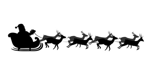 Black silhouette of Santa's sledge Isolated on white background. Vector illustration, icon, clip art.