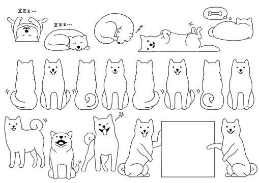 shiba inu elements line drawing