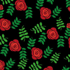 seamless pattern embroidery fashion roses flower print design vector illustration