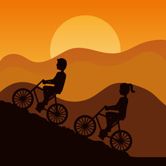 silhouette of couple driving bike climbing mountain with sky at sunset vector illustration
