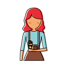 woman  avatar  with   red hair  an ice cream vector illustration