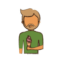 man   avatar with  ice cream cone  vector illustration