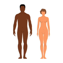 Man and woman.Human front side Silhouette. Isolated on White Background. Vector illustration