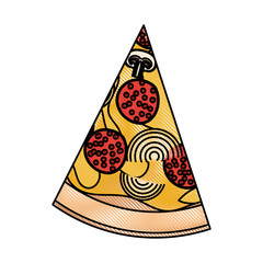 pizza slice in colored crayon silhouette on white background vector illustration