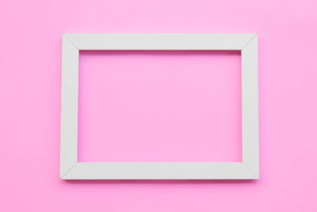 White frame on pink background