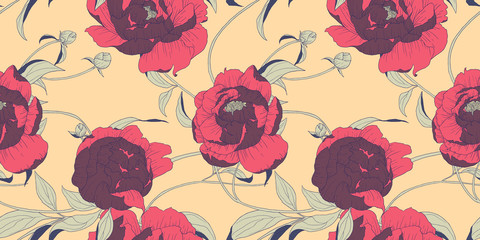 Seamless pattern, hand drawn red Peony flowers on orange background