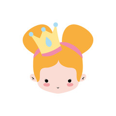 girl head with crown and two buns hair