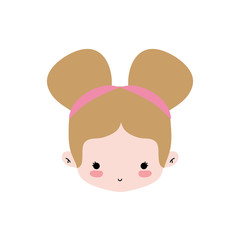 girl head with two buns hair design
