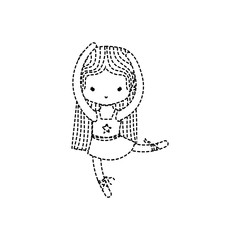 dotted shape girl dancing ballet with straight hair and professional shoes