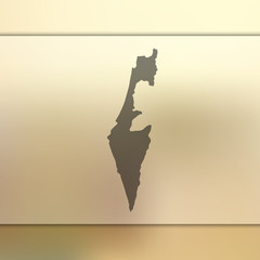 Israel map.Blurred background with silhouette of Israel map. Vector silhouette of Israel map