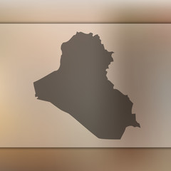 Iraq map. Blurred background with silhouette of Iraq map. Vector silhouette of Iraq map
