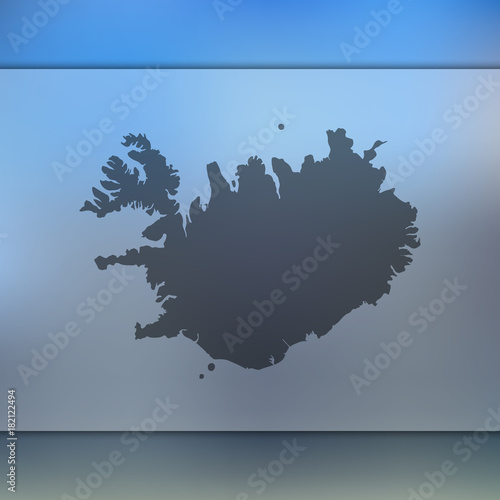 Iceland map. Blurred background with silhouette of Iceland ...