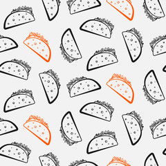 Nice seamless pattern with cute cartoon black and red mexican taco. Cute contrast tacos texture for fast food textile, wrapping paper, package, restaurant or cafe menu banners