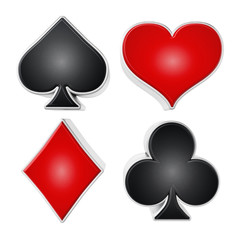 Playing card suits symbols isolated on white background. 3D illustration