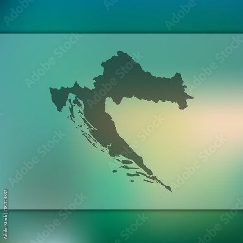 Croatia map. Blurred background with silhouette of Croatia map ...