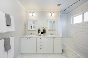 Modern Bathroom with double sink and bath tub.