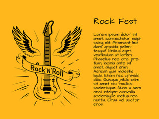 Rock and Roll Fest Poster Vector Illustration