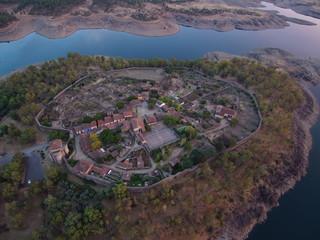 Granadilla a vista de pajaro. Paisaje aereo con drone en Extremadura ,España