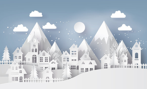 Illustration of cityscape with  Urban Countryside with full moon and snow, Merry Christmas and winter season , paper art and craft style.