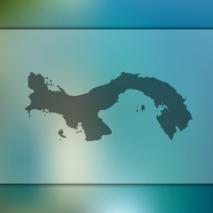 Panama map. Blurred background with silhouette of Panama map. Vector silhouette of Panama map