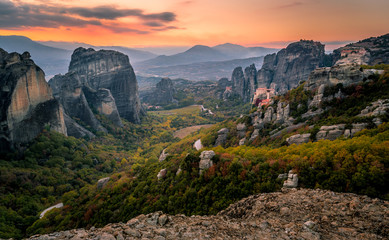The beautiful view of Meteora from Above