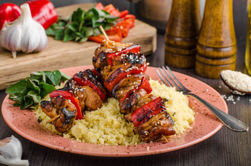 Chicken skewers say sauce