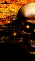 "Screensaver on phone ""Skull with a burning eye on the background of fire and binary code."""