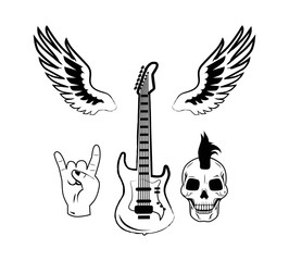 Rock n Roll Symbol Electric Guitar Punk Skull Icon