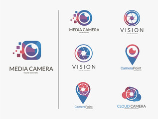 Camera logo set. Multicolored camera logotypes