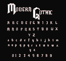 Modern Gothic Font - White Vector Font with Red Outline