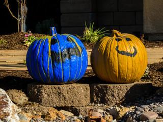 Pair of painted pumpkins