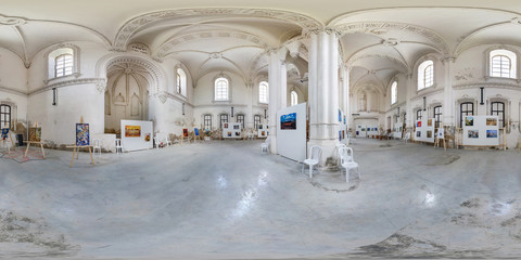 Panorama in interior of synagogue with exhibition of paintings by Jewish artists. Full 360 by 180 degree seamless spherical panorama in equirectangular projection.