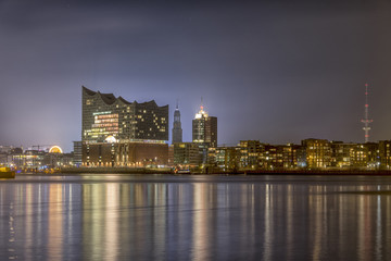nightly panorama of the harbor of Hamburg Germany