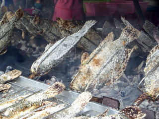 grilled fish and salt and ingredient herb cooking by roll machine