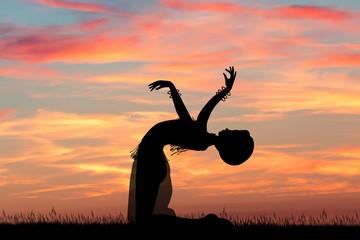Asian dancer at sunset