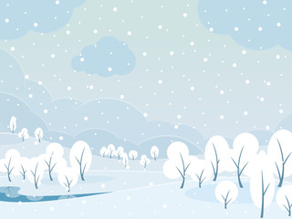 Winter snowy day landscape background.