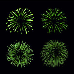Beautiful green fireworks set. Bright fireworks isolated black background. Light green decoration fireworks for Christmas, New Year celebration, holiday festival, birthday card Vector illustration