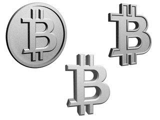 Bitcoin symbol from stippling on white background.