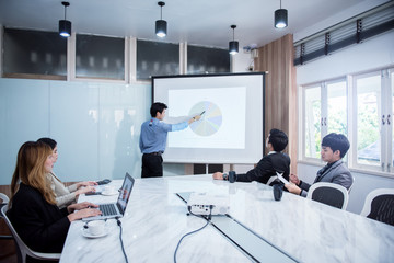 Businessman standing in front of the presentation, business people discussing in conference training or learning coaching Concept.