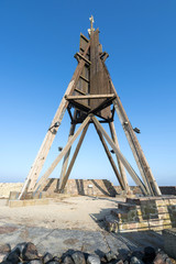 The Kugelbake, a historic aid to navigation in the city of Cuxhaven, Germany, at the northernmost point of Lower Saxony, where the River Elbe flows into the North Sea.
