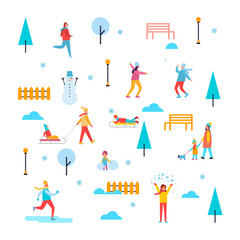 Wintertime Outdoor Activities Vector Illustration