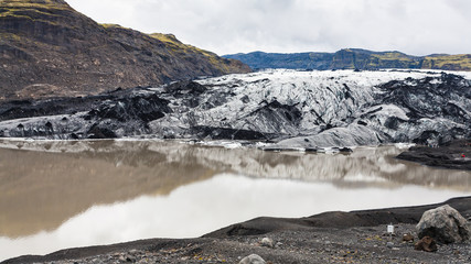 melting water and Solheimajokull glacier